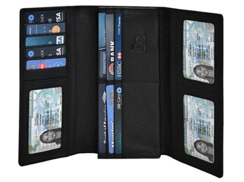 8. Leather Wallets for Women - RFID Blocking Checkbook Wallet