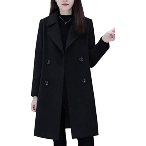 8. chouyatou Women's Basic Essential Double Breasted Mid-Long Wool Blend Pea Coat