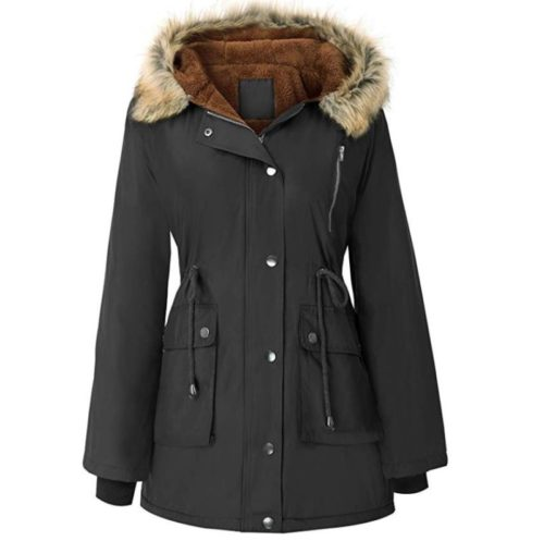 9. GRACE KARIN Womens Hooded Fleece Line Coats Parkas Faux Fur Jackets with Pockets