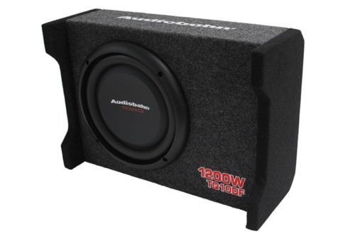 Alphasonik AS10DF 10 inch 1200 Watts 4-Ohm Down Fire Shallow Mount Flat Enclosed Sub woofer for Tight Spaces in Cars and Trucks, Slim Thin Loaded Subwoofer Air Tight Sealed Bass Enclosure