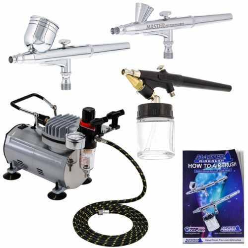 3 Airbrush Professional Master Airbrush Multi-Purpose Airbrushing System Kit - G22, G25, E91 Gravity & Siphon Feed Airbrushes, Hose, Air Compressor, Airbrush Holder