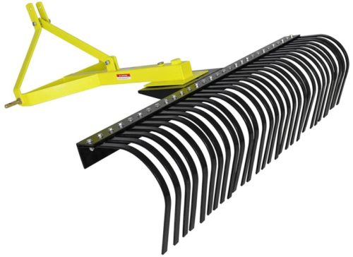 Titan Attachments 4' Landscape Rake for Compact Tractors, Tow-Behind Garden Tool