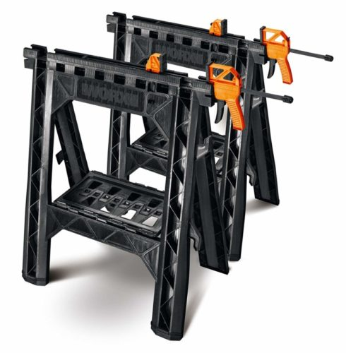 WORX Clamping Sawhorse Pair with Bar Clamps, Built-in Shelf and Cord Hooks – WX065 TOP 10 BEST SAW HORSES IN 2020 REVIEWS