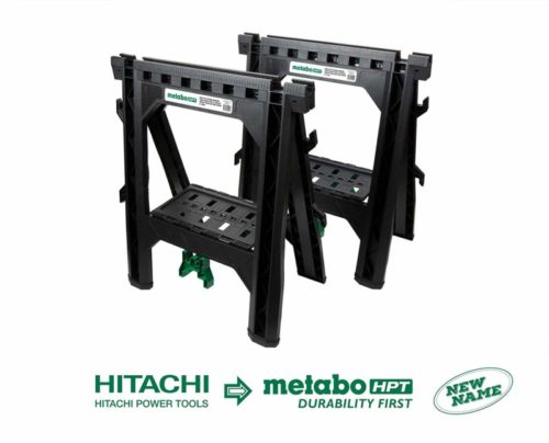 Metabo HPT Folding Sawhorses, Heavy Duty Stand, 4 Sawbucks, 1200 Pound Capacity, Built-In Cord Hooks and Shelves, 2-Pack (115445M)