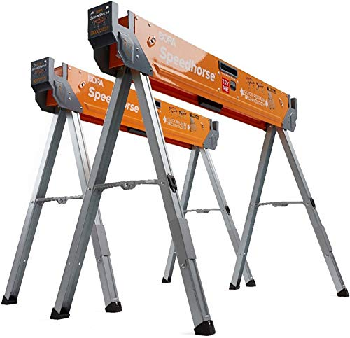 Bora Portamate Speedhorse Sawhorse 2-Pack | Heavy Duty Benchhorse Table Stand with Folding Legs and Metal Top for 2x4, PM-4500T