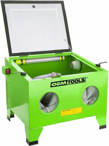 OEMTOOLS 24815 Bench Top Abrasive Blast Cabinet | Removes Rust, Grime, Paint, & More | Great for Automobile Rebuilders or Anyone Restoring Antique Metal Objects | Inexpensive & Efficient TOP 10 BEST SANDBLAST CABINETS IN 2021 REVIEWS