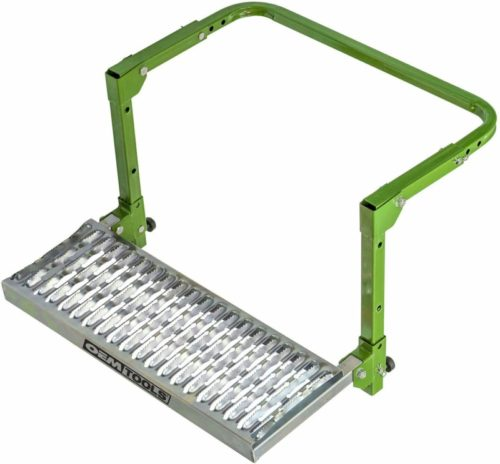 OEM TOOLS 24913 Adjustable Step | Non-Slip Textured Steel Platform | Rated up to 300 lbs. | Fits Any Tire from 9 to 13 inches in Diameter | Green Powder-Coat Finish | Folds for Storage