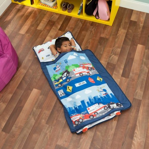 Everyday Kids Toddler Nap Mat with Removable Pillow -Fire Police Rescue- Carry Handle with Fastening Straps Closure, Rollup Design, Soft Microfiber for Preschool, Daycare, Sleeping Bag -Ages 2-4 years