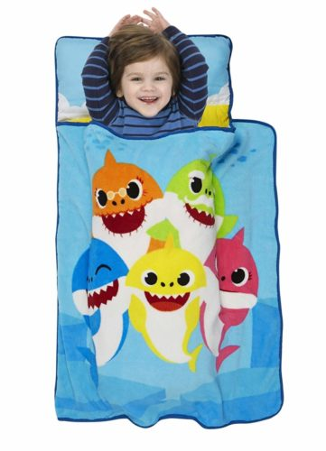 Baby Shark Toddler Nap Mat - Includes Pillow and Fleece Blanket – Great for Boys and Girls Napping at Daycare, Preschool, Or Kindergarten - Fits Sleeping Toddlers and Young Children