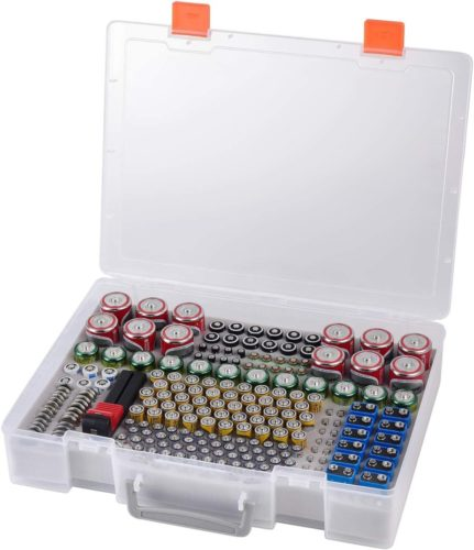 Battery-Organizer-Holder-Batteries-Storage-Containers-Box-Case-with-Tester-Checker-BT-168.-Garage-Organization-Holds-225-Batteries-AA-AAA-C-D-Cell-9V-3V-Lithium-LR44-CR2-CR1632-CR2032-1