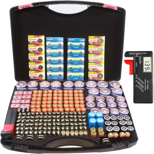 Hard-Battery-Organizer-Sorter-Storage-case-with-Digital-Battery-Tester-Holding-Over-250-C-D-AA-AAA-AAAA-Button-Cell-3V-SFCR123A-3.7V-18650-6V-4LR44-9V-12V-A23-Batteries.no-Batteries