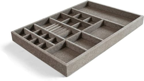 Jewelry-Drawer-Organizer-Wood-and-Velvet-for-Jewels-Rings-Necklaces-Bracelets-20-Compartments-Protects-Jewelry-Stackable-Durable-and-Made-In-USA-GraySilver