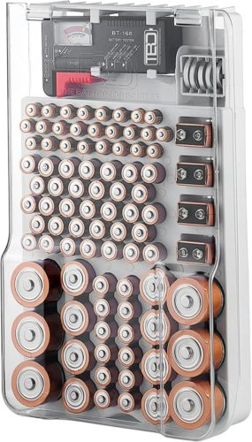 The-Battery-Organizer-Storage-Case-with-Hinged-Clear-Cover-Includes-a-Removable-Battery-Tester-Holds-93-Batteries-Various-Sizes-1