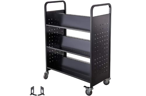 BestEquip 200LBS Book Carts, Library Carts 30x14x45 Inch, Rolling Book Carts Double Sided W-Shaped Sloped Shelves with 4 Inch Lockable Wheels, for Home Shelves Office and School Book Truck in Black