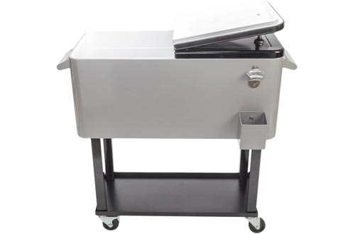 Henf 80 Quart Qt Mobile Cooler Carts, Portable Cooler Ice Chest Carts for Outdoor Patio Deck Party, Rolling Backyard Party Drink Beverage Bar, with Shelf and Bottle Opener