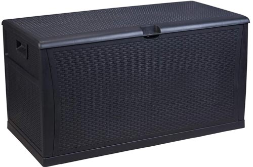 GDY 120 Gallon Patio Storage Deck Boxs Outdoor Storage Plastic Bench Boxs, Resin Wicker Storage Container Bench Seat (Black)