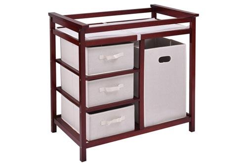New MTN-G Cherry Infant Baby Changing Tables w/3 Basket Hamper Diaper Storage Nursery