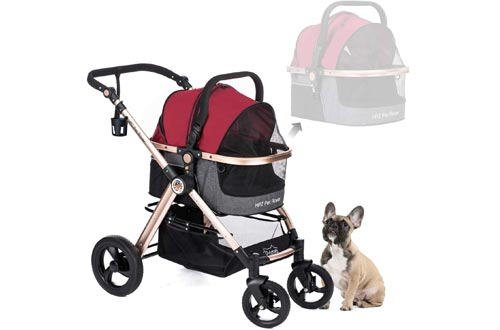 HPZ Pet Rover Prime 3-in-1 Luxury Dog/Cat/Pet Strollers (Travel Carrier +Car Seat +Stroller) with Detach Carrier/Pump-Free Rubber Tires/Aluminum Frame/Reversible Handle for Medium & Small Pets
