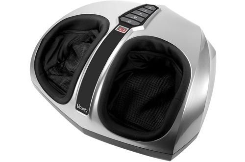 uComfy Shiatsu Foot Massagers with Multi-Level Settings, Delivers Deep-Kneading Massage Relief, Silver, Round