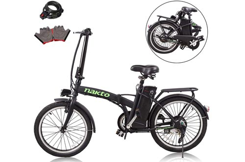 """nakto 20""""/26"""" 250W Foldaway/City Electric Bikes Assisted Electric Bicycle Sport Mountain Bicycle with 36V10A Removable Lithium Battery"""