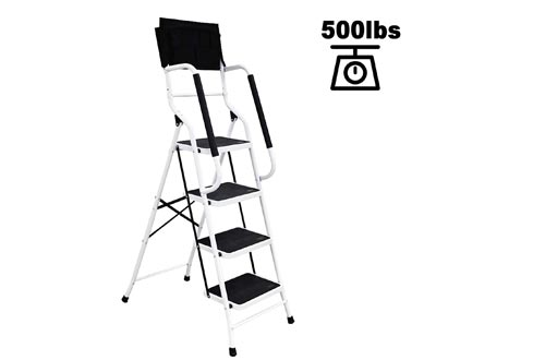 charaHOME 4 Step Ladder Step Stool Folding Portable Ladders Steel Frame with Safety Side Handrails Non-Slip Wide Pedal Kitchen and Home Stepladder with Attachable Tool Bag 500 lb Capacity