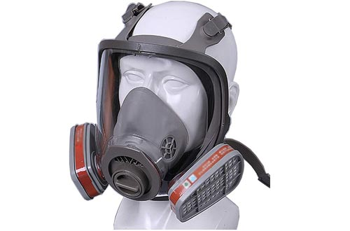 WFLJ Full Facepiece Respirator, Full Face Respirators with 2 Filtering Electrostatic Cotton and Activated Carbon Box, Effectively Blocks