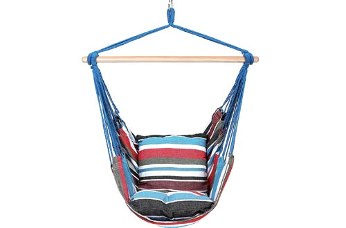 Blissun Hanging Hammock Chairs, Hanging Swing Chairs with Two Cushions, 34 Inch Wide Seat Cool Breeze