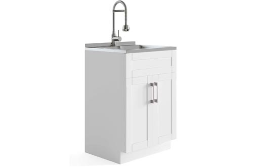 Simpli Home AXCLDYHEN-SS Hennessy Deluxe 24 inch Laundry Cabinet with Faucet and Stainless Steel Laundry & Utility Sinks, Pure White