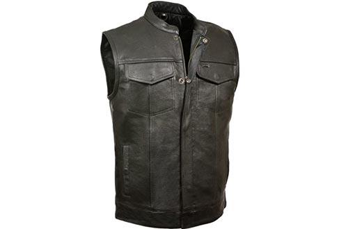 Milwaukee Leather Men's Open Neck Snap/Zip Front Club Style Vests
