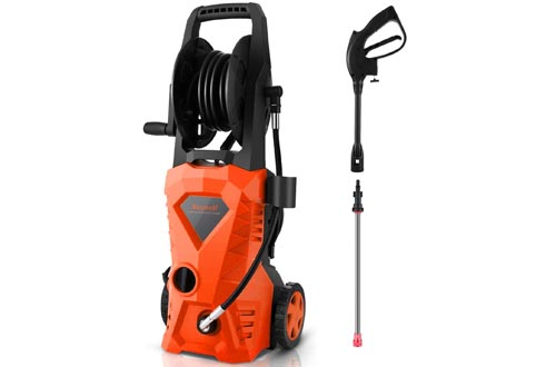 Suyncll Pressure Washer 3000PSI Electric Power Washer with Hose Reel and Brush,High Pressure Washers for Driveway Fence Patio Deck Cleaning