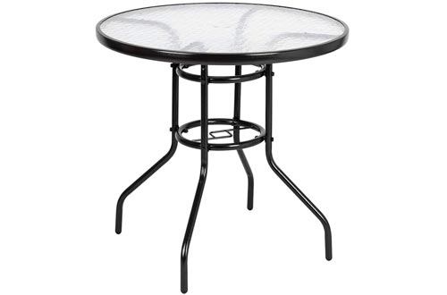 """VINGLI Outdoor Dining Table, 31.5"""" Round Patio Bistro Tempered Glass Tables Top with Umbrella Hole, Outside Banquet Furniture for Garden Pool Side Deck Lawn"""