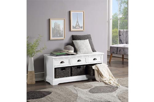 Homes Collection Wood Storage Benchs, Shoe Benchs Storage Benchs with 3 Drawers and 3 Woven Baskets for Living Room, Entryway, Hallway, No Assembly Required