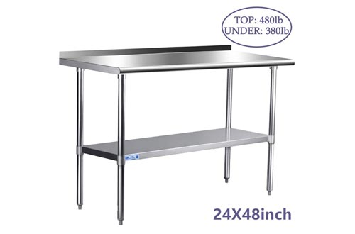 Stainless Steel Tables for Prep & Work 24 x 48 Inches, NSF Commercial Heavy Duty Tables with Undershelf and Backsplash for Restaurant, Home and Hotel