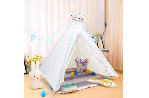 """ALPHA HOME Teepee Tents for Kids Canvas Childs Play Teepee Tents Indoor & Outdoor with Carry Bag - 58"""" x 58"""" x 56"""""""