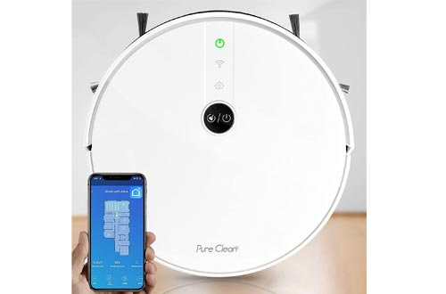 """Pure Clean Robotic Vacuum Cleaners - 1800Pa Suction - Wifi Mobile App and Gyroscope Mapping - Ultra Thin 2.9"""" Height Cleans Carpets and Hardwood Floor - PUCRC455, White"""