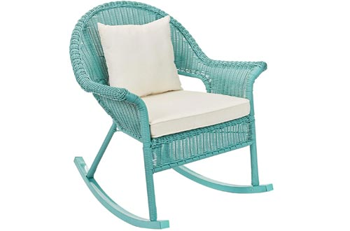 BrylaneHome Roma All-Weather Rocking Chairs w/Free toss Pillow & seat Cushion
