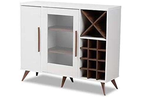 Baxton Studio Pietro Mid-Century Modern White and Walnut Finished Wood Wine Cabinets
