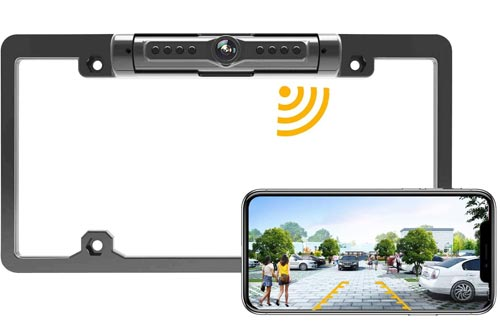 License Plate Wireless Backup Cameras, WiFi Rear View Cameras, LASTBUS 170° View Angle Universal IP69 Waterproof Car License Plate Frame Cameras for Cars RV Box Truck SUV Pick Up Truck Van