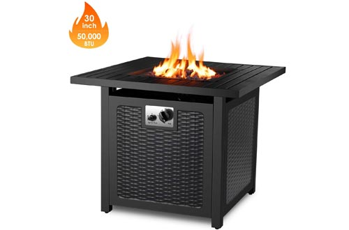 """FIXKIT 30"""" Propane Gas Fire Pits, 50,000 BTU Auto-Ignition Fire Bowl with Waterproof Firepit Table Cover & Lava Rock, CSA Certification, Outdoor Square Fireplace for Courtyard/Balcony"""