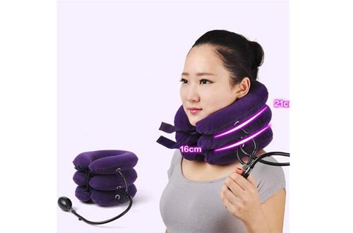 3 Layer Inflatable Air Cervical Neck Traction Devices Soft Neck Collar for Pain Relief Neck Stretcher Pain Releave Purple