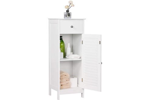 Yaheetech Bathroom Floor Storage Cabinets, Free-Standing Side Storage Organizer Unit with Drawer and Single Shutter Door, White