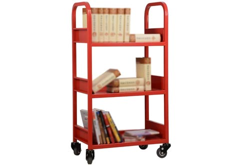QYJ-Service trolley Single-Sided 3-Storey Bookstore Bookshelf Carts Household Racks Library Mobile Carts (Size Specifications: 600 320 1080MM)