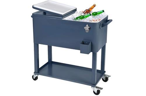 UPHA 80 Quart Rolling Outdoor Cooler, Patio Cooler Carst on Wheels, Portable Drink Beverage Bar