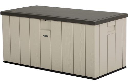 LIFETIME 60254 Heavy-Duty Outdoor Storage Deck Boxs, 150 Gallon, Desert Sand/Brown