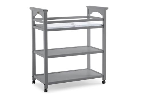 Graco Lauren Changing Tables with Water-Resistant Change Pad and Safety Strap, Pebble Gray, Multi Open Storage Nursery Changing Tables for Infants or Babies