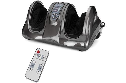 Best Choice Products Therapeutic Shiatsu Foot Massagers Kneading and Rolling for Foot, Ankle, Nerve Pain w/High Intensity Rollers, Remote Control, 4 Programs, 3 Massage Modes - Gray