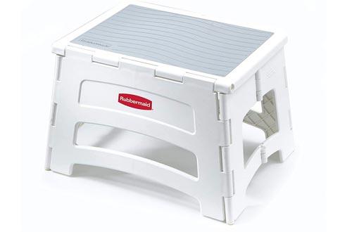 Rubbermaid RM-PL1W Folding 1-Step Plastic Stools, 300-pound Capacity, White