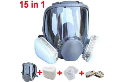 Muhubaih 15in1 Full Face Large Size Respirators, Full Face Wide Field of View,Widely Used in Organic Gas,Paint spary, Chemical,Woodworking