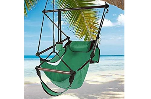 Best Choice Products Hammock Hanging Chair Air Deluxe Sky Outdoor Chairs Solid Wood 250lb - Green