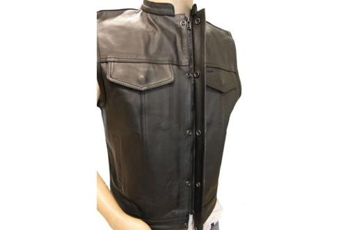 MEN'S MOTORCYCLE SONS OF ANARCHY BLACK CLUB STYLE LEATHER VESTS W/GUN CELL GLASSES POCKETS